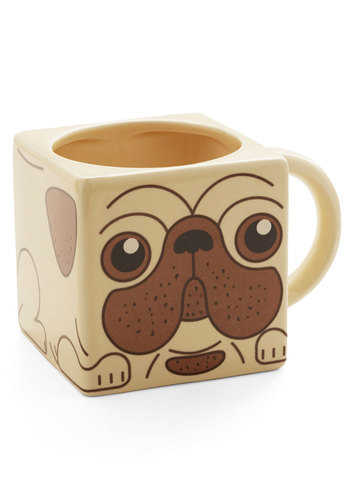 Paws and Perk Up Mug - Multi, Quirky, Good, Print with Animals, Critters, Dog