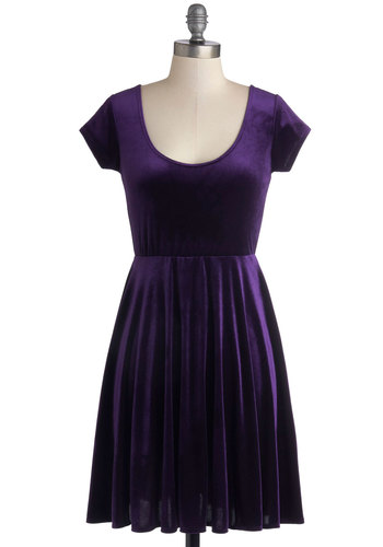 Vivacious in Velvet Dress in Purple - Knit, Mid-length, Purple, Solid, Party, A-line, Cap Sleeves, Good, Scoop, Vintage Inspired, 90s, Minimal