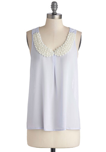 Bit of Baubly Top in Periwinkle - Chiffon, Sheer, Woven, Mid-length, Blue, Solid, Lace, Pearls, Special Occasion, Party, Fairytale, French / Victorian, Sleeveless, Good, Collared, Blue, Sleeveless, Bows, Variation, Scoop, Spring, Pastel, Lace