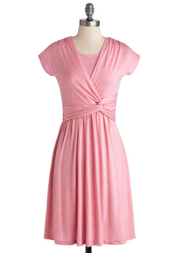 Take It to Art Dress in Pink - Jersey, Knit, Mid-length, Pink, Solid, Ruching, Casual, A-line, Short Sleeves, Good, Variation