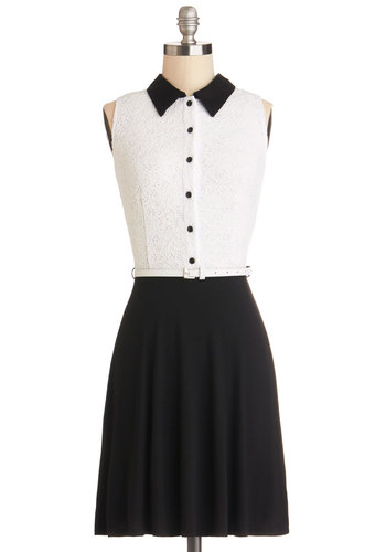 Cool House Rock Dress - Jersey, Knit, Mid-length, Black, White, Buttons, Belted, Party, Shirt Dress, Sleeveless, Good, Collared, Twofer