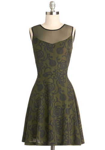 Garden Silhouette Dress by Jack by BB Dakota - Knit, Mid-length, Sheer, Woven, Green, Floral, Party, A-line, Sleeveless, Good