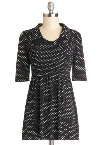 That's for Shirr Tunic - Knit, Long, Black, Polka Dots, Work, Vintage Inspired, 60s, Black, Short Sleeves, Short Sleeve, Collared, Casual, Exclusives