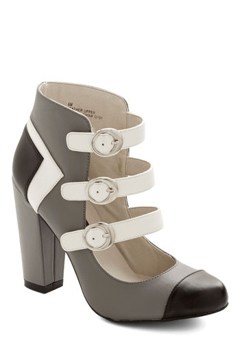 Statement in Your Steps Bootie - High, Leather, Grey, Black, White, Solid, Buckles, Party, Girls Night Out, Colorblocking, Better