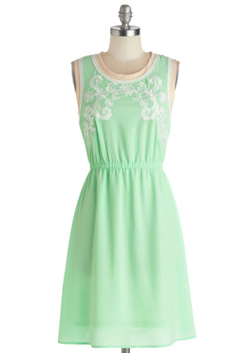 Delicate Detailing Dress - Mid-length, Chiffon, Woven, Mint, White, Embroidery, Casual, A-line, Sleeveless, Better, Scoop, Green