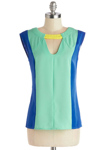 All of the Brights Top - Chiffon, Sheer, Woven, Mid-length, Mint, Party, Vintage Inspired, 60s, Neon, Sleeveless, Better, Boat, Green, Sleeveless, Yellow, Blue, Cutout, Mod