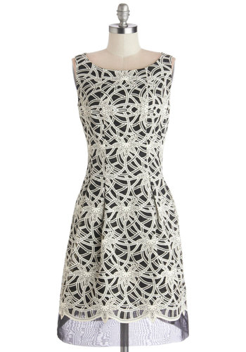 Star Alumna Dress - Sheer, Woven, Mid-length, Black, White, Print, Pleats, Party, A-line, Sleeveless, Boat, Better