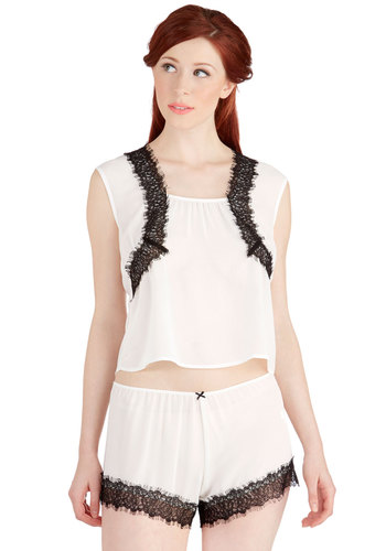 Teacup Toast Sleep Top by Only Hearts - Chiffon, Sheer, Woven, White, Black, Solid, Lace, Wedding, Vintage Inspired, Boudoir, Sleeveless, Lace