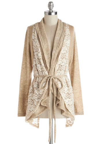 Library Lovely Cardigan by Ryu - Better, Brown, Long Sleeve, Knit, Tan, Lace, Belted, Casual, Boho, Long Sleeve, Tan / Cream, Lace
