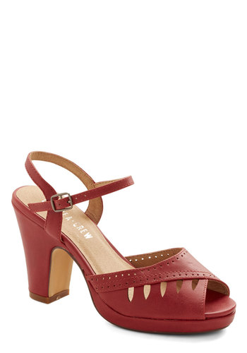 Salsa Lessons Heel in Cayenne by Chelsea Crew - Red, Solid, Cutout, Wedding, Party, Peep Toe, Mid, Faux Leather, Vintage Inspired, 40s