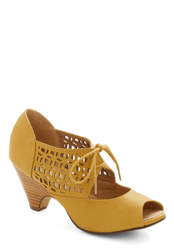 Cube Your Enthusiasm Heel in Mustard by Chelsea Crew - Mid, Faux Leather, Yellow, Solid, Daytime Party, Better, Lace Up, Peep Toe, Cutout, Vintage Inspired, 30s, Variation