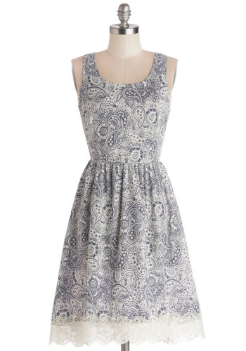 Blissful Breakfast Dress - Woven, Mid-length, Sheer, Blue, White, Paisley, Lace, Casual, A-line, Tank top (2 thick straps), Good, Scoop, Lace, Spring