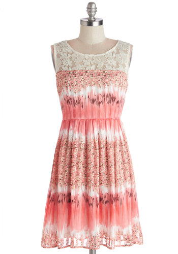 Collage of Charm Dress - Sheer, Knit, Woven, Short, Pink, White, Floral, Lace, Daytime Party, A-line, Sleeveless, Good, Scoop, Spring