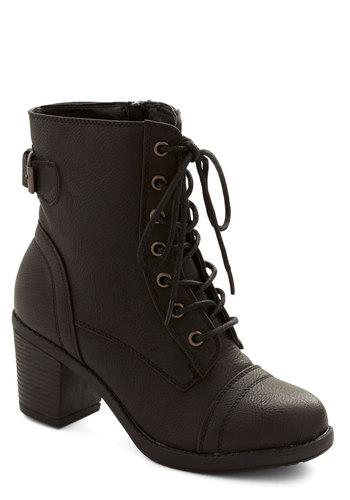 Where There's a Willamette Boot in Black - Mid, Faux Leather, Black, Solid, Military, Good, Chunky heel, Buckles, Lace Up