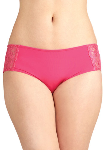 Floral Foundation Undies - Pink, Solid, Lace, Sheer, Knit, Valentine's, Lace