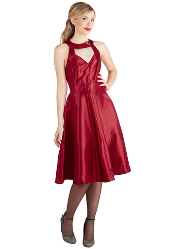 Just Breathtaking Dress - Long, Satin, Woven, Red, Solid, Cutout, Rhinestones, Cocktail, A-line, Sleeveless, Better, Special Occasion, Vintage Inspired, 50s, 60s, Fit & Flare, Exclusives, Party
