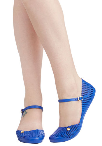 Mesh Is More Flat by Mel Shoes - Blue, Solid, Cutout, Casual, Nautical, Flat, Good, Beach/Resort, Mary Jane