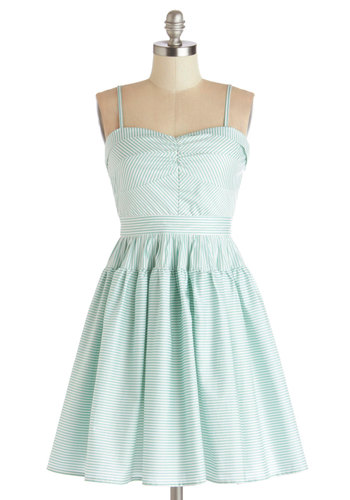 Take a Spin Dress in Green - Cotton, Mid-length, White, Stripes, Casual, Fit & Flare, Spaghetti Straps, Better, Sweetheart, Mint, Variation, Sundress, Pastel