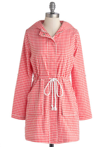 Pont des Arts Picnic Coat by Tulle Clothing - Red, White, Checkered / Gingham, Pockets, Casual, Hoodie, Long Sleeve, Better, Red, Tab Sleeve, Woven, Long, Spring, 1