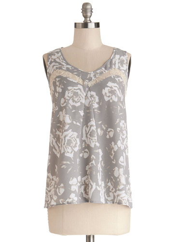 Lovely On Location Top by Jack by BB Dakota - Sheer, Woven, Mid-length, Grey, White, Floral, Lace, Sleeveless, Scoop, Grey, Sleeveless, Lace
