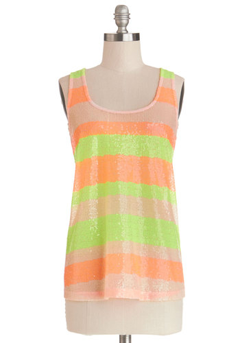 Bring On the Bright Top by Jack by BB Dakota - Sheer, Knit, Woven, Mid-length, Orange, Stripes, Sequins, Better, Yellow, Sleeveless, Multi, Yellow, Party, Tank top (2 thick straps), Scoop, Neon, Summer