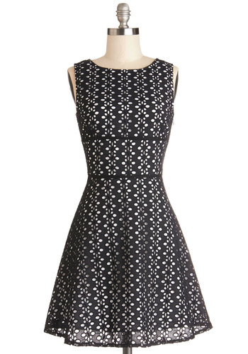 My Stars Dress by BB Dakota - Black, White, Eyelet, Casual, A-line, Sleeveless, Better, Scoop, Cotton, Woven, Mid-length