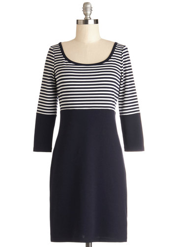 Promise Congeniality Dress by BB Dakota - White, Stripes, Casual, Nautical, Shift, 3/4 Sleeve, Better, Scoop, Knit, Short, Blue