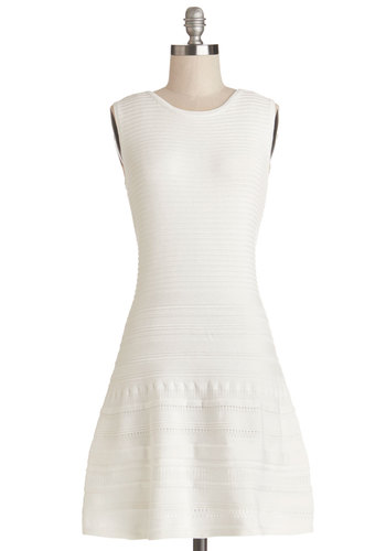 Poolside Party Dress by BB Dakota - White, Solid, Casual, A-line, Sleeveless, Better, Scoop, Cotton, Knit, Short