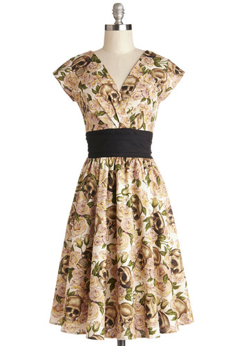 Pretty on the Park Bench Dress in Skulls - Cotton, Woven, Multi, Floral, Pleats, Daytime Party, Skulls, A-line, Cap Sleeves, Variation, Show On Featured Sale, Long