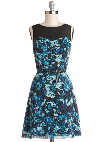 Exhilarating Embrace Dress by Kensie - Sheer, Woven, Mid-length, Blue, Black, Floral, Exposed zipper, Belted, Party, A-line, Sleeveless, Better
