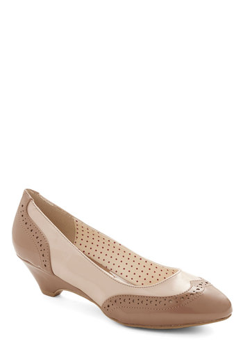 Sweet Spectator Heel in Chai by Bait Footwear - Mid, Faux Leather, Cream, Tan / Cream, Work, Better, Variation, Vintage Inspired, 20s, 30s