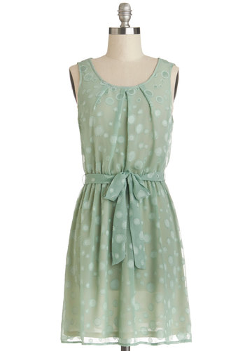 Bubbly Celebration Dress - Chiffon, Woven, Sheer, Mid-length, Green, Polka Dots, Belted, Casual, A-line, Tank top (2 thick straps), Good, Scoop, Spring