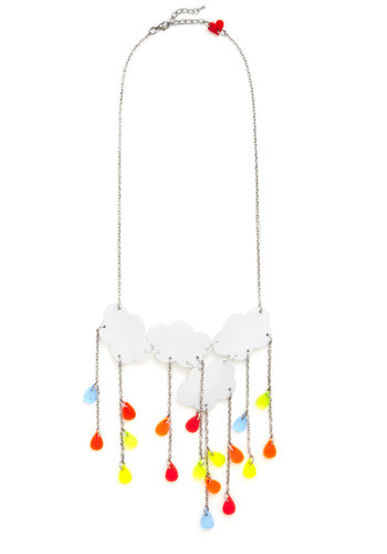 Rainy Day Radiance Necklace - White, Multi, Solid, Quirky, Silver, Better