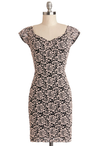 Event Docent Dress in Floral - Sheer, Knit, Mid-length, Black, Floral, Cutout, Embroidery, Casual, Bodycon / Bandage, Cap Sleeves, Good, Tan / Cream, Shift, Variation, Top Rated, Fall