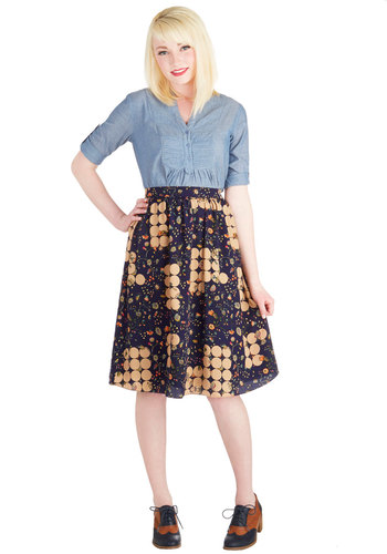 Square Roots Skirt - Long, Woven, Blue, Floral, Print, Daytime Party, A-line, Vintage Inspired, 60s, Blue