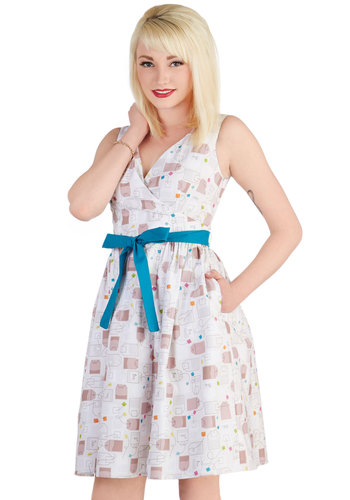 In the Key of Chic Dress in Tea Time by Bea & Dot - Private Label, Cotton, Woven, Mid-length, White, Multi, Novelty Print, Belted, Casual, A-line, Sleeveless, Better, V Neck, Pockets, Exclusives