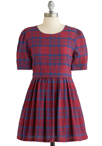 School, Calm, and Collected Dress by Kling - Red, Blue, Plaid, Pleats, Casual, A-line, Short Sleeves, Better, Scoop, Scholastic/Collegiate