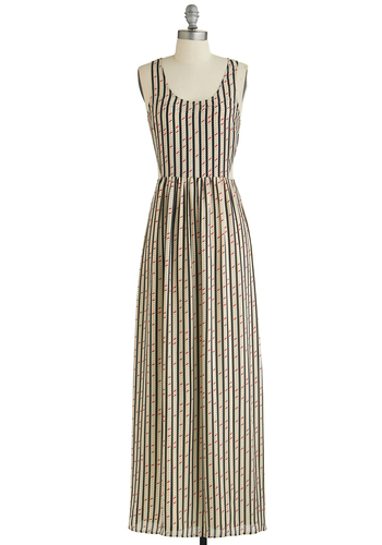 Learn Those Lines Dress - Multi, Tan / Cream, Black, Stripes, Print, Cutout, Casual, Maxi, Tank top (2 thick straps), Scoop, Woven, Long, Spring, Summer, Festival, Press Placement, Boho