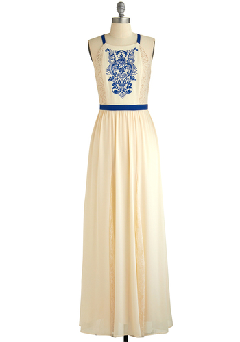 Museum Muse Dress - Cream, Blue, Embroidery, Lace, Daytime Party, Maxi, Sleeveless, Better, Woven, Long