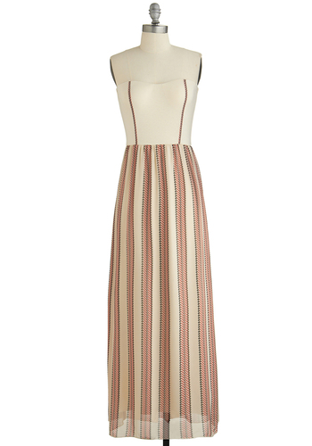 Yacht Cocktails Dress - Cream, Red, Black, Print, Party, Daytime Party, Beach/Resort, Nautical, Strapless, Sweetheart, Long, Chiffon, Knit, Woven, Summer