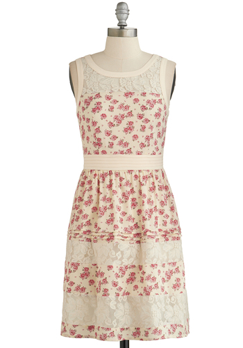 Country Rose, Take Me Home Dress - Cream, Multi, Floral, Lace, Casual, A-line, Sleeveless, Good, Scoop, Mid-length, Spring, Summer