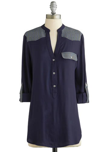 Every Bit Counts Tunic - Blue, Tab Sleeve, Blue, Buttons, Work, Long Sleeve, Spring, Better, Variation, Woven, Long, Solid, Stripes, Pockets, Casual