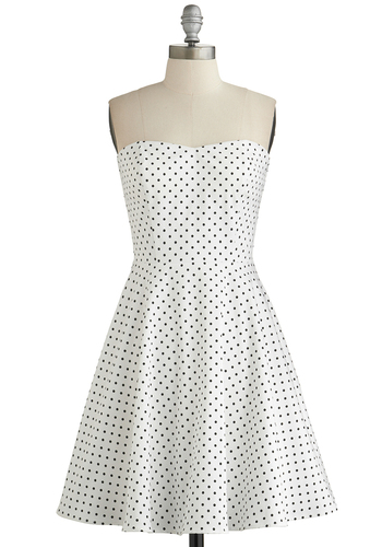 Specs and the City Dress - White, Black, Polka Dots, Party, A-line, Strapless, Good, Sweetheart, Cotton, Woven, Mid-length