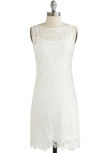 A Sweet Aperitif Dress in Crème - White, Solid, Lace, Wedding, Daytime Party, Bride, Sheath / Shift, Sleeveless, Good, Sheer, Knit, Lace, Short, Variation