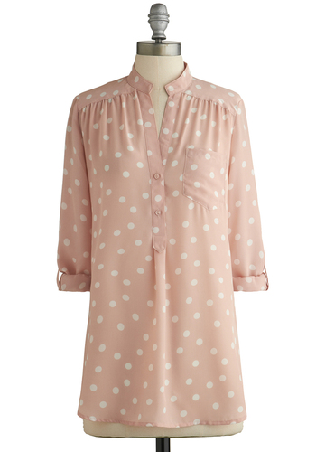 Hosting for the Weekend Tunic in Blush - Spring, Pink, White, Polka Dots, Buttons, Pockets, Casual, Pastel, 3/4 Sleeve, Variation, Sheer, Woven, Long, Valentine's, Pink, Tab Sleeve