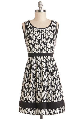 Monochrome Maven Dress - Woven, Chiffon, Short, Black, White, Print, Party, A-line, Good, Scoop