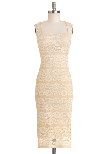 The It Sophisticate Dress - Sheer, Knit, Long, Tan, Tan / Cream, Cutout, Lace, Shift, Sleeveless, Better, Sweetheart, Party, Cocktail, Variation, Wedding, Bride, Lace