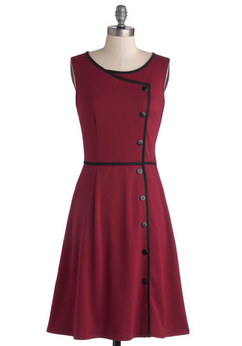 Chord-ially Yours Dress in Magenta - Knit, Mid-length, Red, Black, Buttons, Trim, Casual, Sleeveless, Better, Scoop, Vintage Inspired, Variation, Work, Valentine's