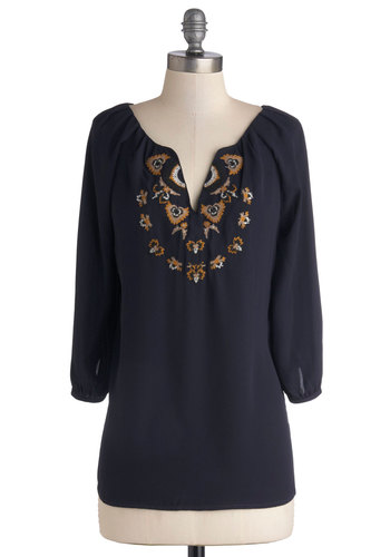 Tupelo and Behold Top - Chiffon, Woven, Mid-length, Blue, 3/4 Sleeve, Better, Blue, 3/4 Sleeve, Embroidery, Casual, Boho