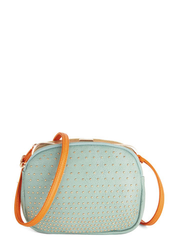 Triple Fantastic Bag - Mint, Tan / Cream, Solid, Better, Faux Leather, Orange, Studs, Spring